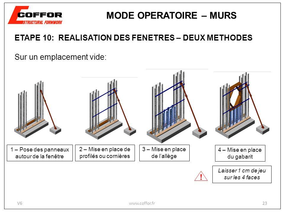 MODE OPERATOIRE – MURS ETAPE 10: REALISATION DES FENETRES – DEUX METHODES. Sur un emplacement vide: