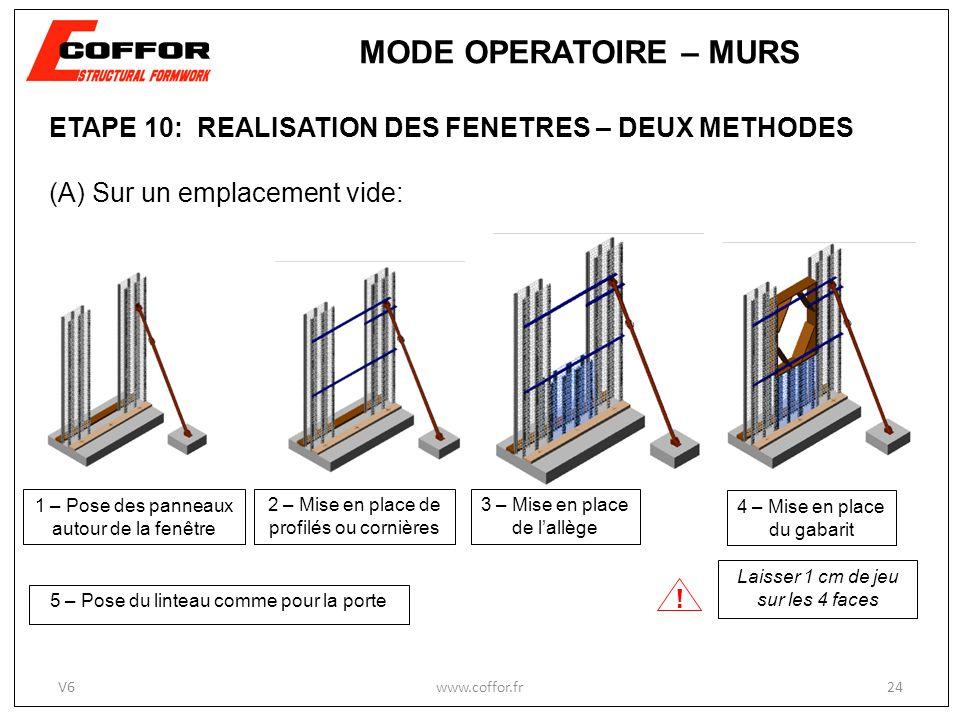 MODE OPERATOIRE – MURS ETAPE 10: REALISATION DES FENETRES – DEUX METHODES. (A) Sur un emplacement vide: