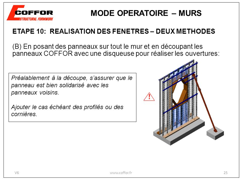 MODE OPERATOIRE – MURS ETAPE 10: REALISATION DES FENETRES – DEUX METHODES.