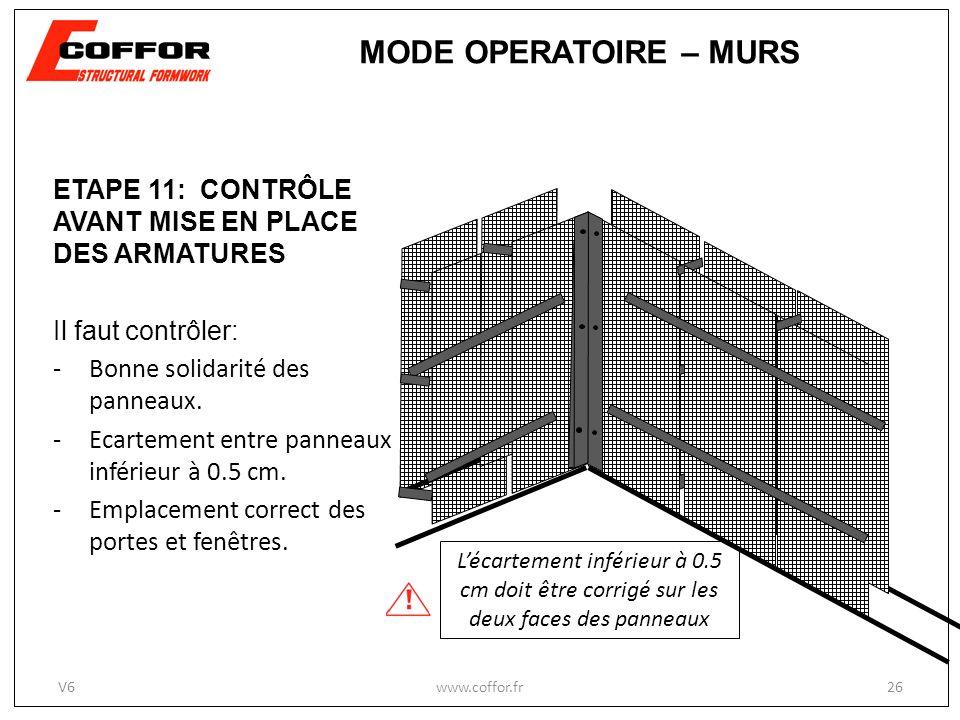 MODE OPERATOIRE – MURS ETAPE 11: CONTRÔLE AVANT MISE EN PLACE DES ARMATURES. Il faut contrôler: Bonne solidarité des panneaux.