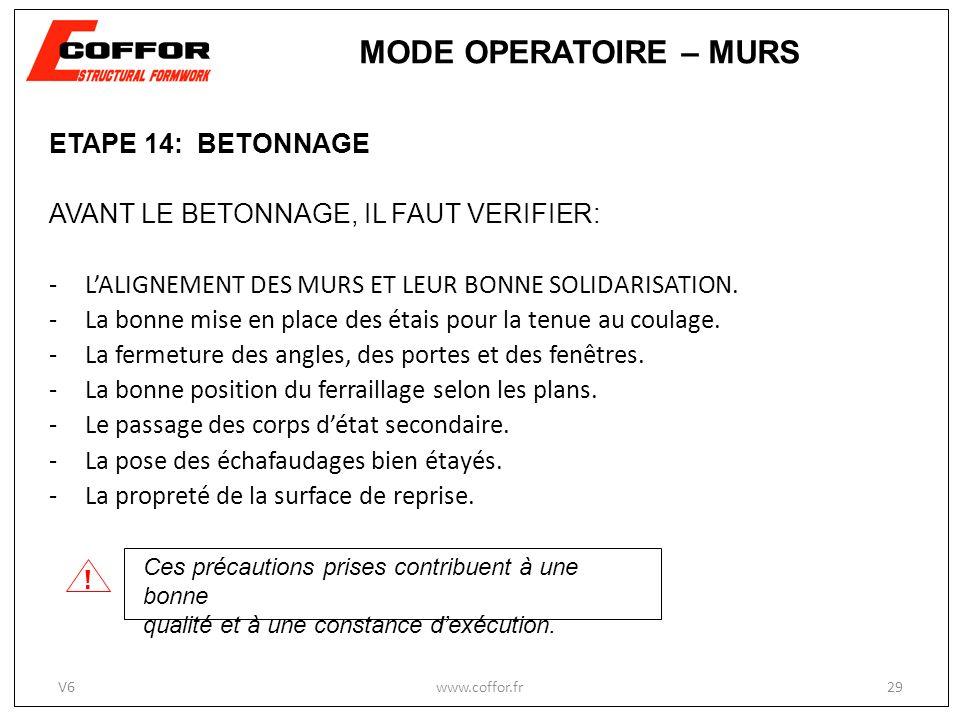 MODE OPERATOIRE – MURS ! ETAPE 14: BETONNAGE