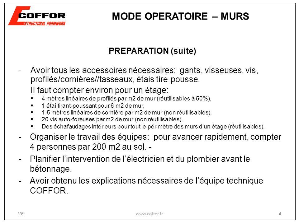 MODE OPERATOIRE – MURS PREPARATION (suite)