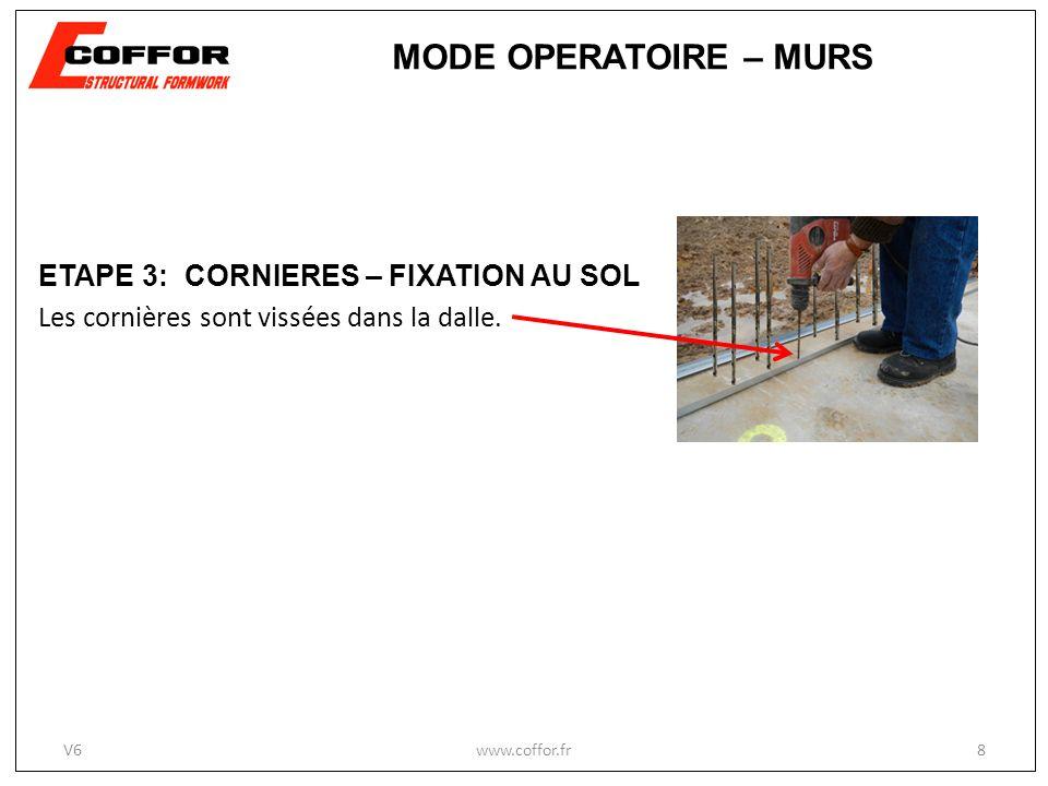 MODE OPERATOIRE – MURS ETAPE 3: CORNIERES – FIXATION AU SOL