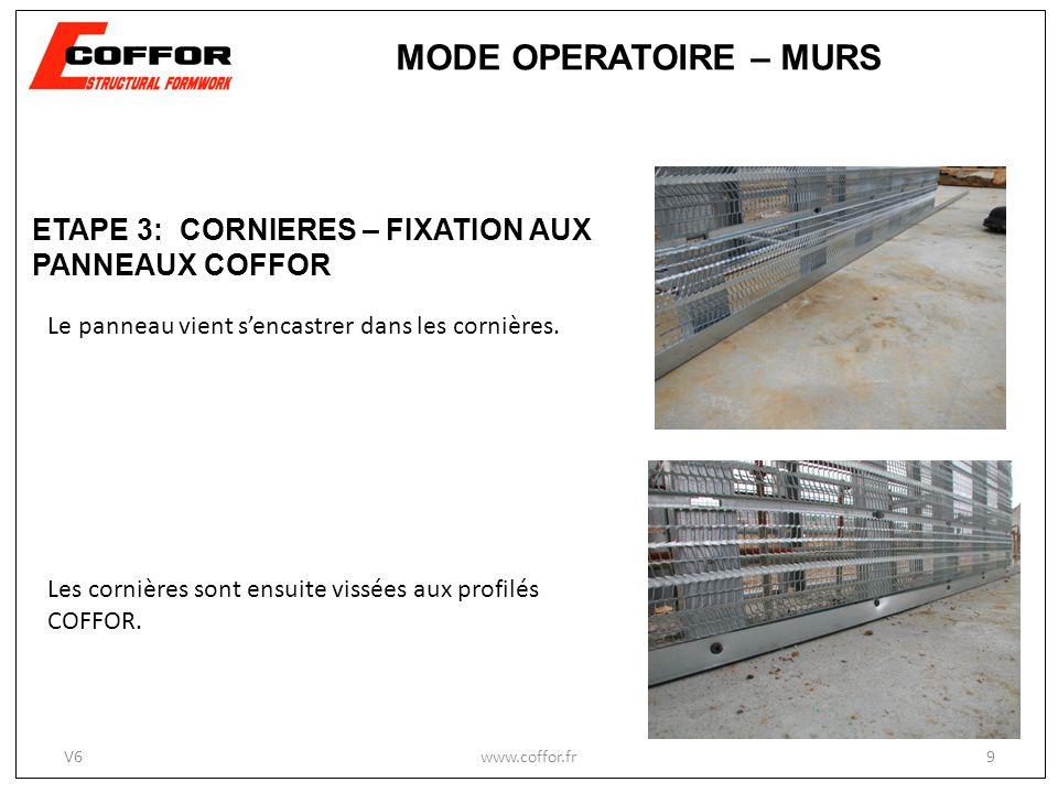 MODE OPERATOIRE – MURS ETAPE 3: CORNIERES – FIXATION AUX PANNEAUX COFFOR. Le panneau vient s'encastrer dans les cornières.