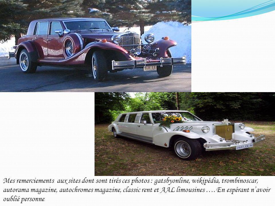 Mes remerciements aux sites dont sont tirés ces photos : gatsbyonline, wikipédia, trombinoscar, autorama magazine, autochromes magazine, classic rent et AAL limousines ….