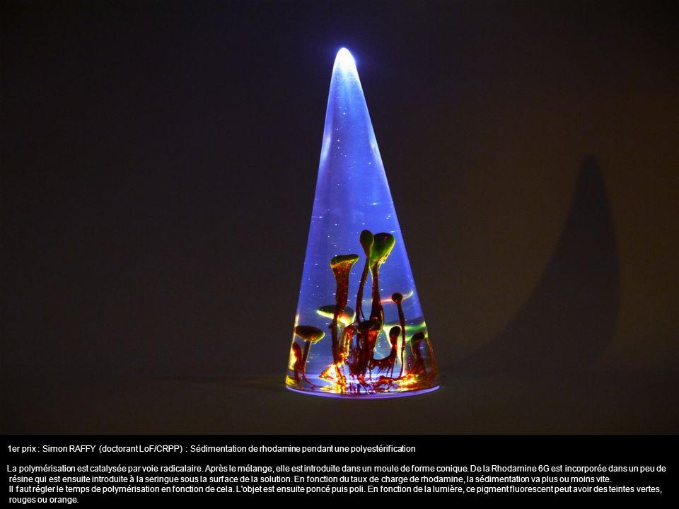 1er prix : Simon RAFFY (doctorant LoF/CRPP) : Sédimentation de rhodamine pendant une polyestérification