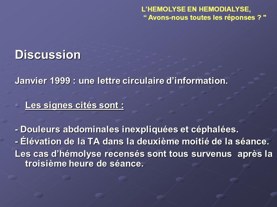 Discussion Janvier 1999 : une lettre circulaire d'information.