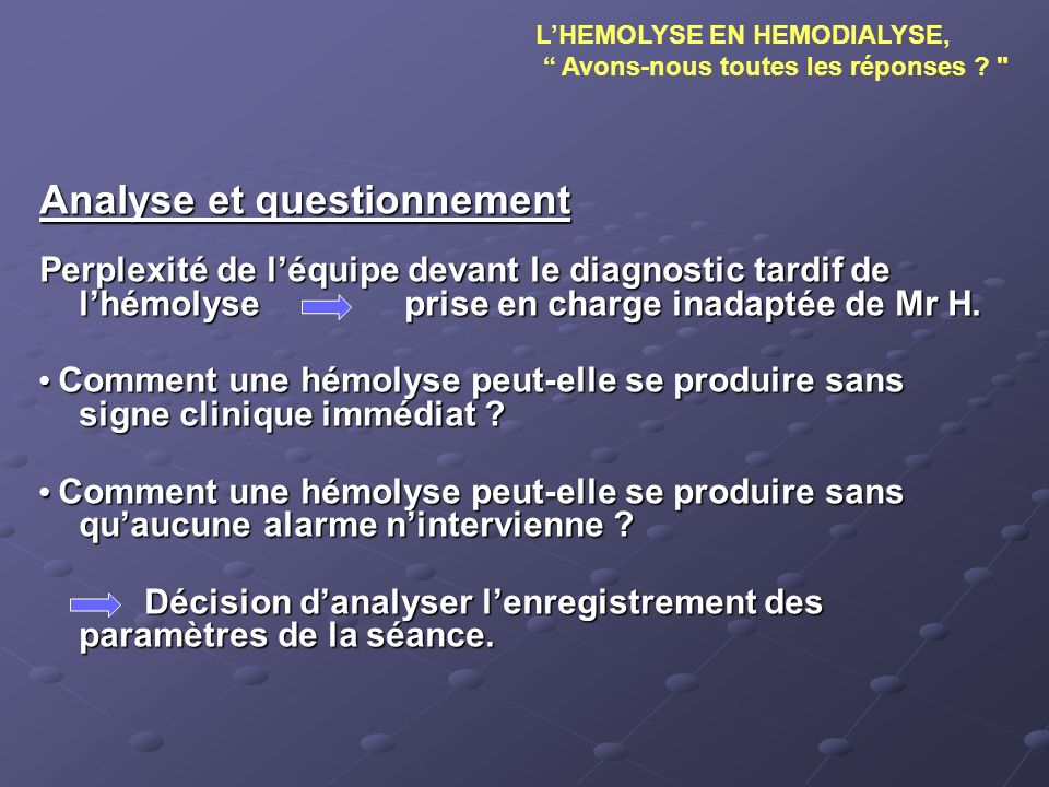 Analyse et questionnement