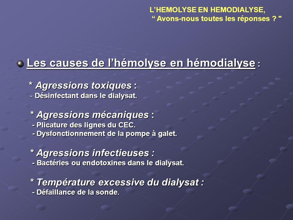 Les causes de l'hémolyse en hémodialyse :