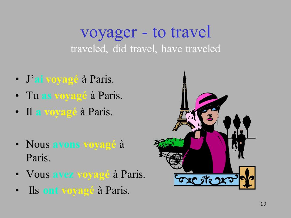voyager - to travel traveled, did travel, have traveled