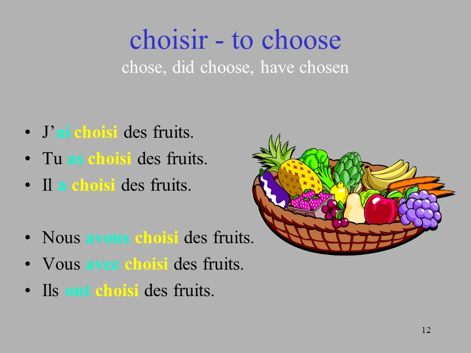 choisir - to choose chose, did choose, have chosen
