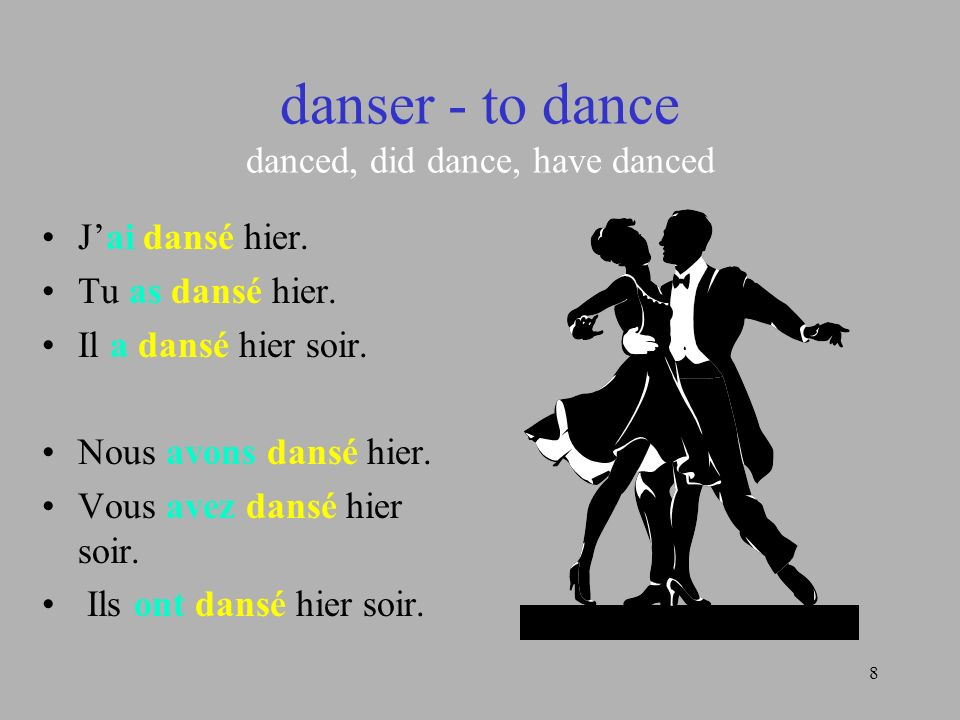 danser - to dance danced, did dance, have danced