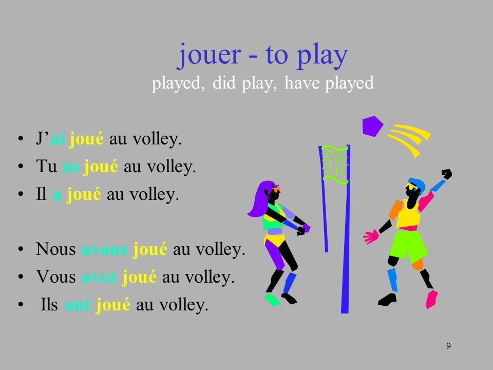 jouer - to play played, did play, have played