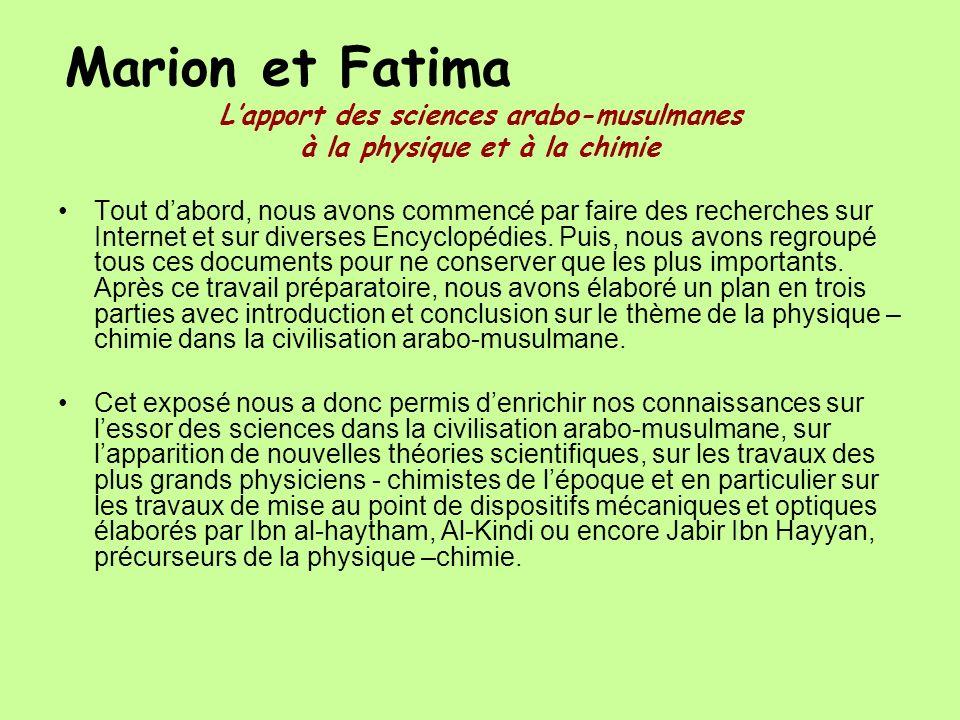 L'apport des sciences arabo-musulmanes à la physique et à la chimie
