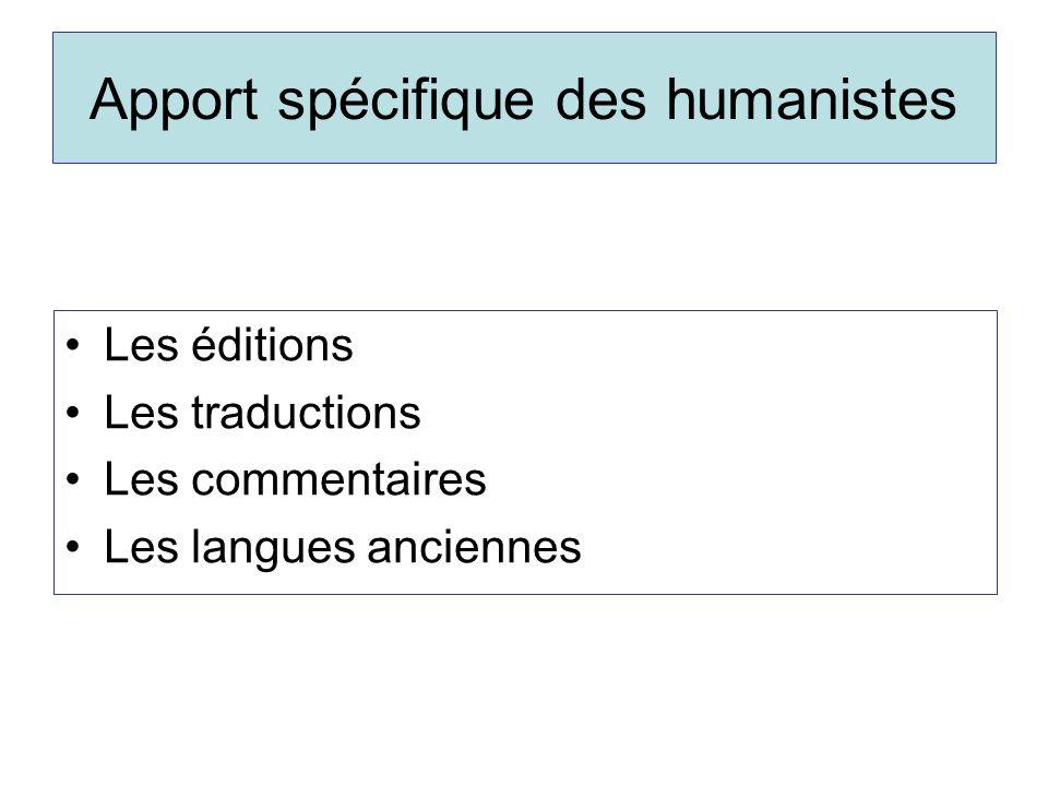 Apport spécifique des humanistes