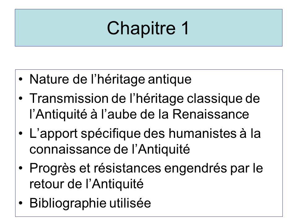 Chapitre 1 Nature de l'héritage antique