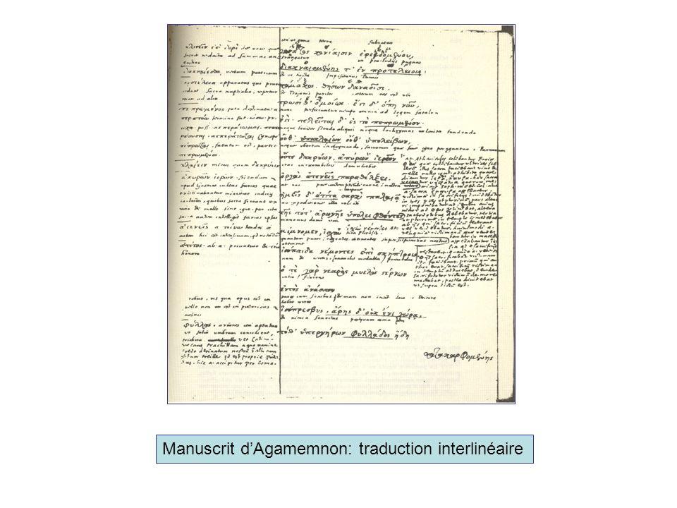 Manuscrit d'Agamemnon: traduction interlinéaire