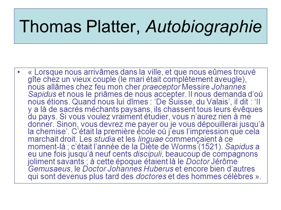Thomas Platter, Autobiographie