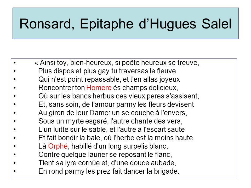 Ronsard, Epitaphe d'Hugues Salel