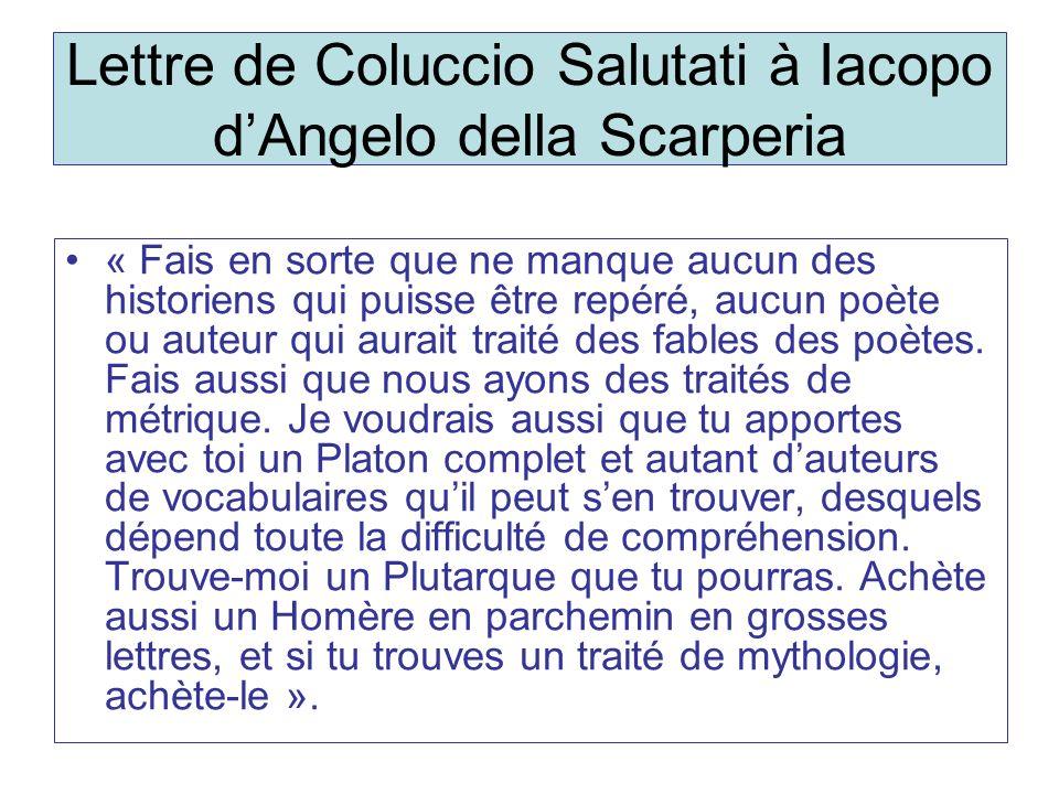Lettre de Coluccio Salutati à Iacopo d'Angelo della Scarperia