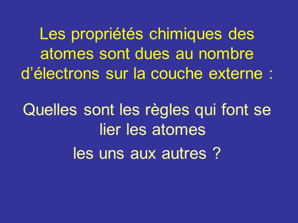 Quelles sont les règles qui font se lier les atomes