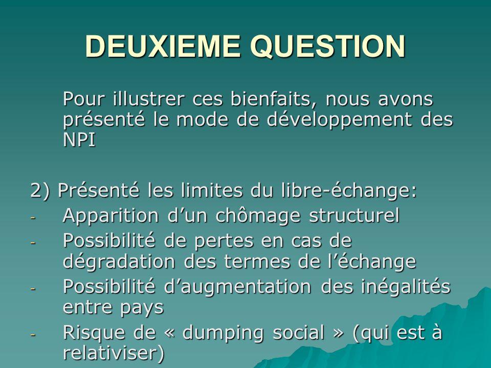 DEUXIEME QUESTION Pour illustrer ces bienfaits, nous avons présenté le mode de développement des NPI.