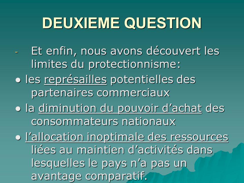 DEUXIEME QUESTION Et enfin, nous avons découvert les limites du protectionnisme: ● les représailles potentielles des partenaires commerciaux.