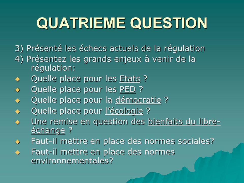 QUATRIEME QUESTION 3) Présenté les échecs actuels de la régulation