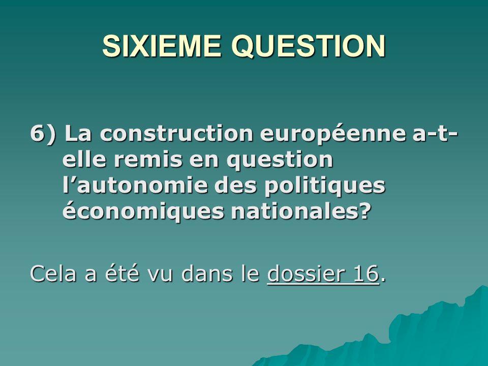 SIXIEME QUESTION 6) La construction européenne a-t-elle remis en question l'autonomie des politiques économiques nationales