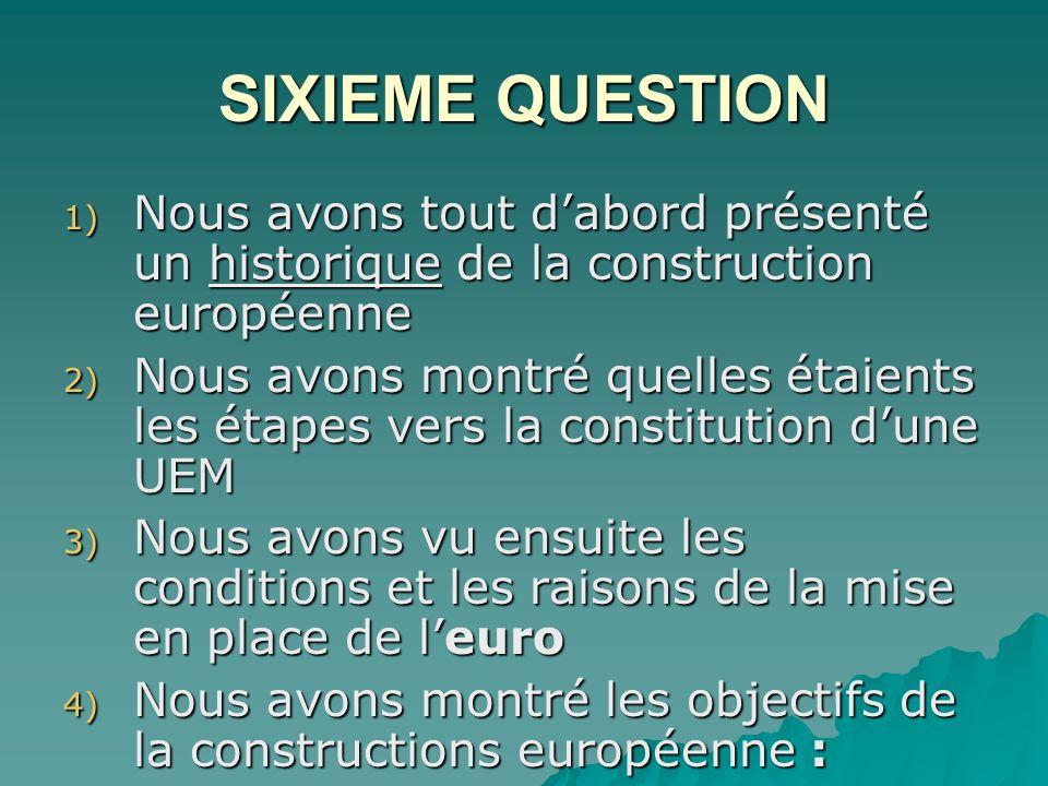 SIXIEME QUESTION Nous avons tout d'abord présenté un historique de la construction européenne.