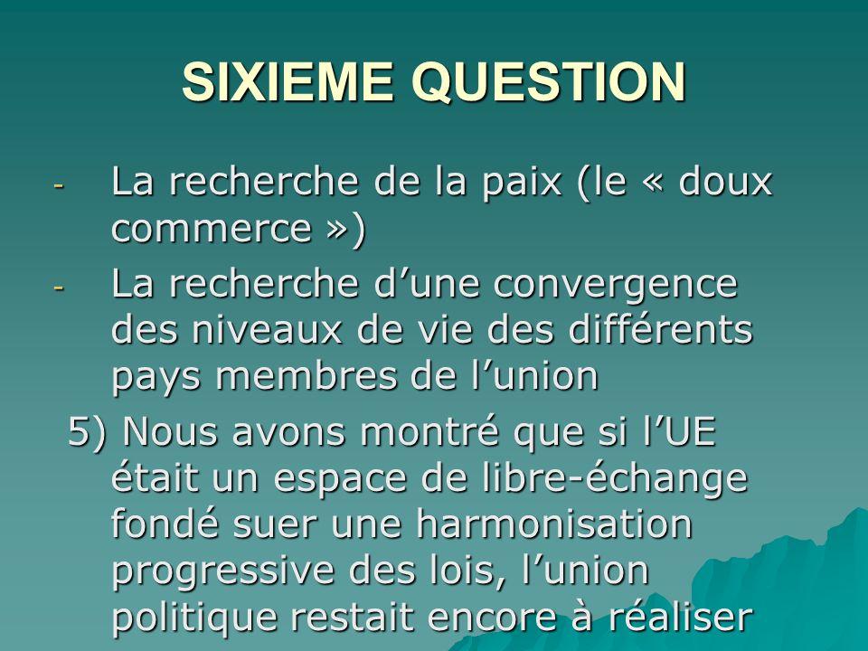 SIXIEME QUESTION La recherche de la paix (le « doux commerce »)