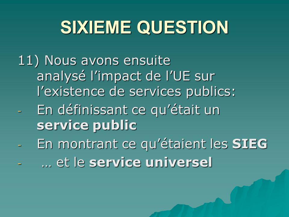 SIXIEME QUESTION 11) Nous avons ensuite analysé l'impact de l'UE sur l'existence de services publics: