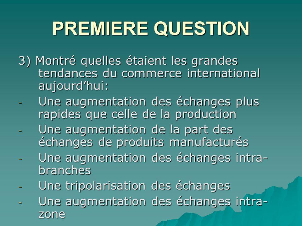 PREMIERE QUESTION 3) Montré quelles étaient les grandes tendances du commerce international aujourd'hui: