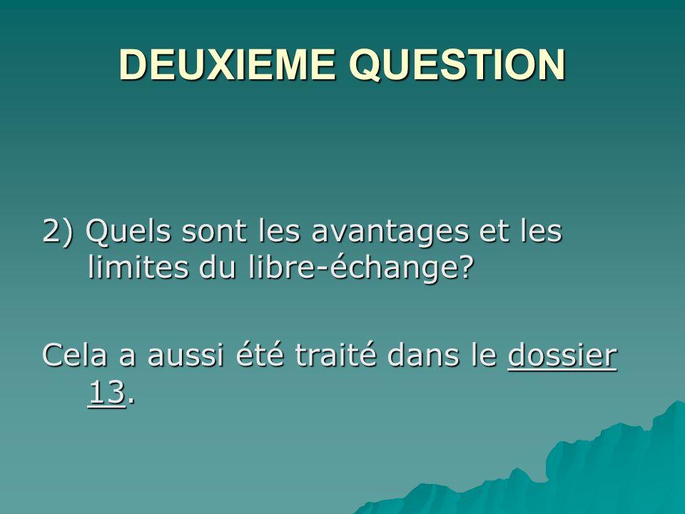 DEUXIEME QUESTION 2) Quels sont les avantages et les limites du libre-échange.