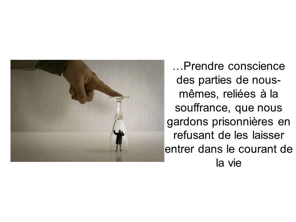 …Prendre conscience des parties de nous- mêmes, reliées à la souffrance, que nous gardons prisonnières en refusant de les laisser entrer dans le courant de la vie