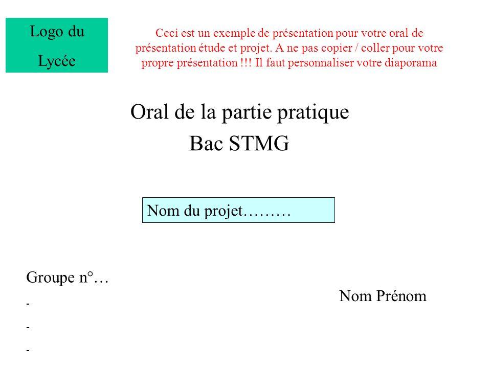 Oral de la partie pratique Bac STMG