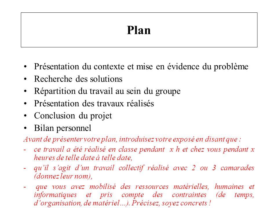 Plan Présentation du contexte et mise en évidence du problème