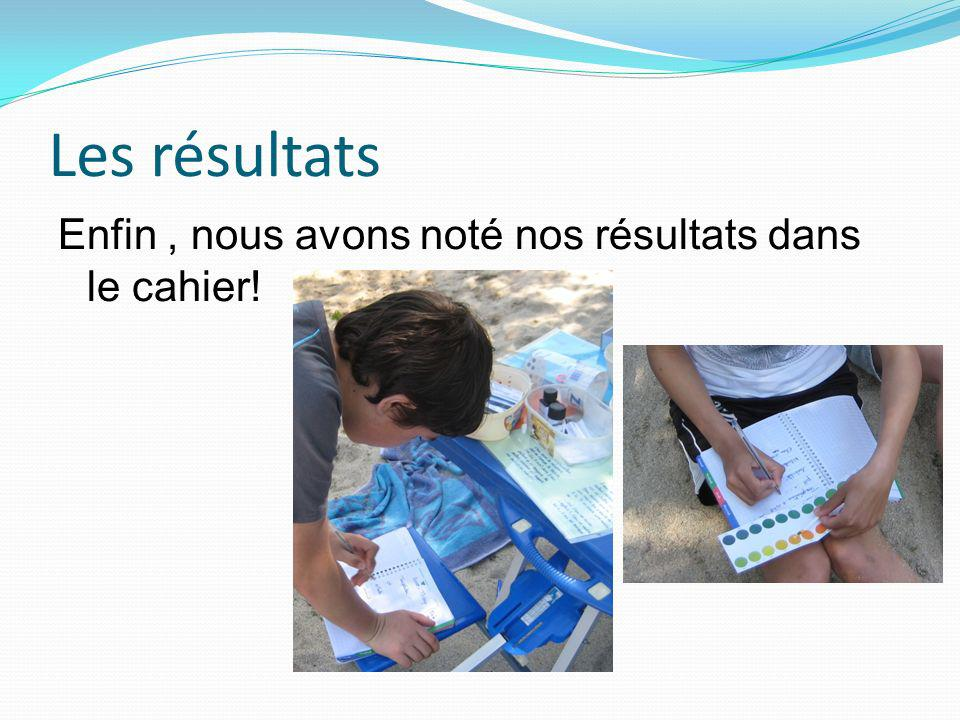 Les résultats Enfin , nous avons noté nos résultats dans le cahier!