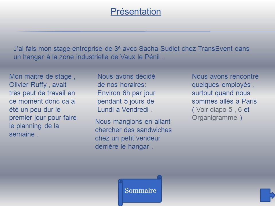 Présentation J'ai fais mon stage entreprise de 3e avec Sacha Sudiet chez TransEvent dans un hangar à la zone industrielle de Vaux le Pénil .