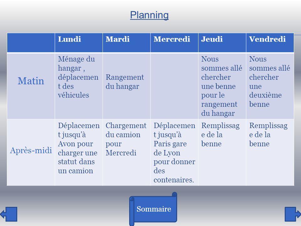 Planning Matin Après-midi Lundi Mardi Mercredi Jeudi Vendredi