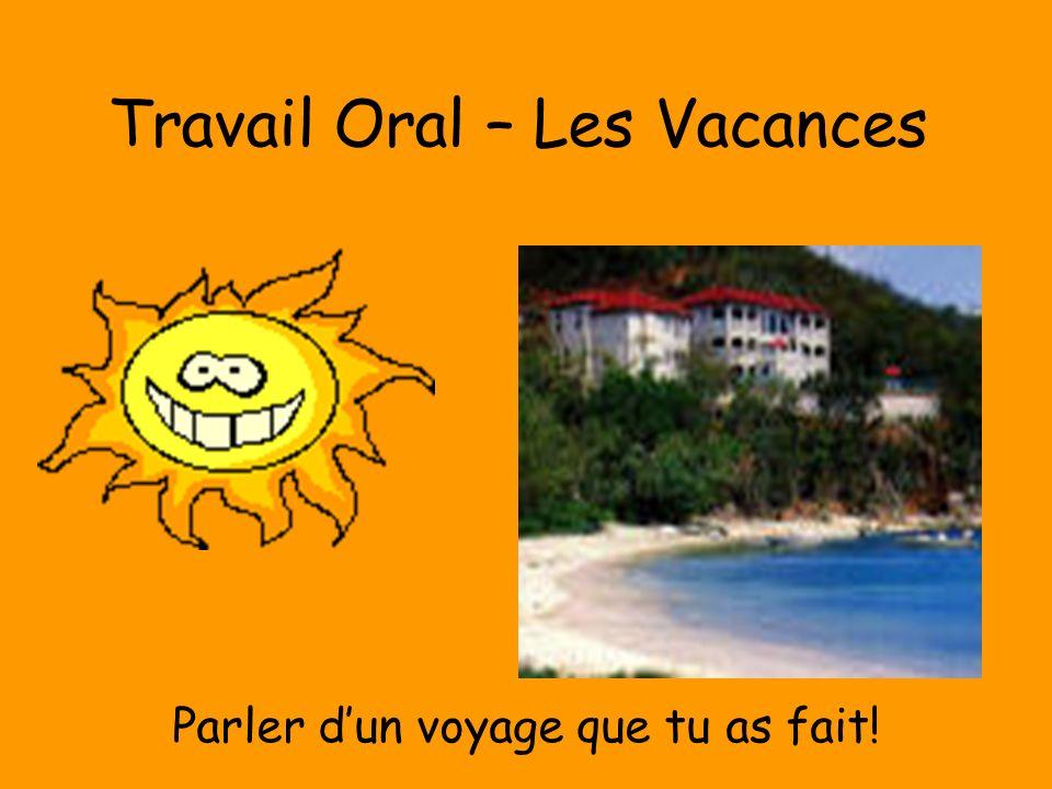 Travail Oral – Les Vacances