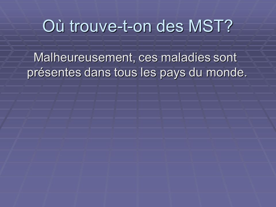 Où trouve-t-on des MST Malheureusement, ces maladies sont présentes dans tous les pays du monde.