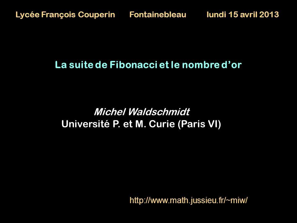 La suite de Fibonacci et le nombre d'or