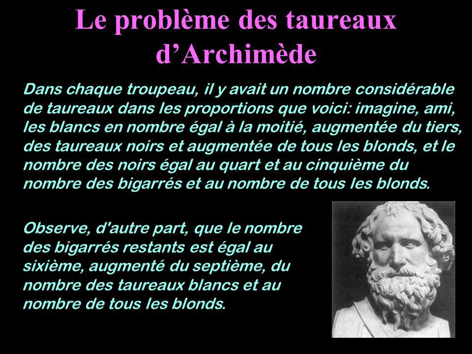 Le problème des taureaux d'Archimède