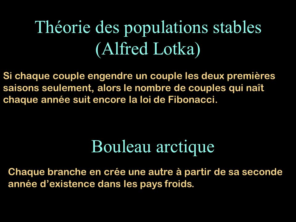 Théorie des populations stables (Alfred Lotka)