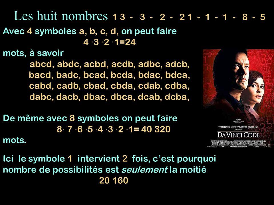 Les huit nombres 1 3 - 3 - 2 - 2 1 - 1 - 1 - 8 - 5