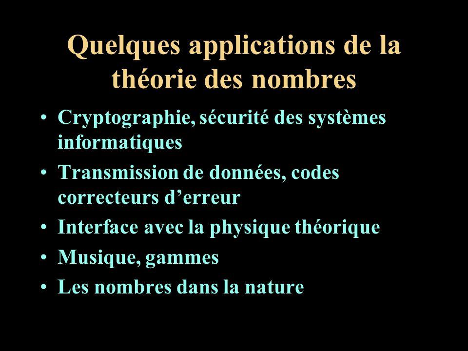 Quelques applications de la théorie des nombres