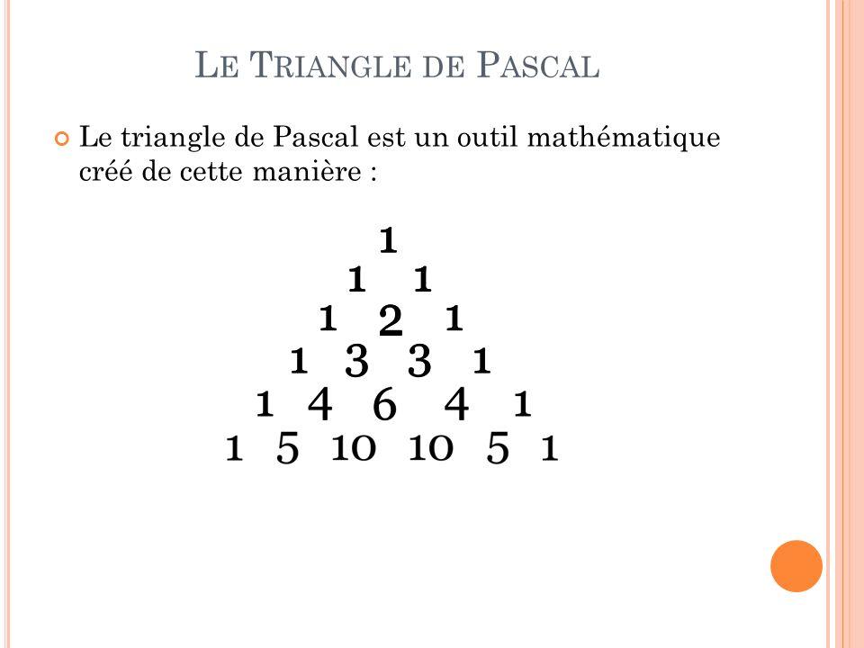 Le Triangle de Pascal Le triangle de Pascal est un outil mathématique créé de cette manière :