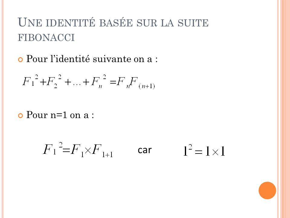 Une identité basée sur la suite fibonacci