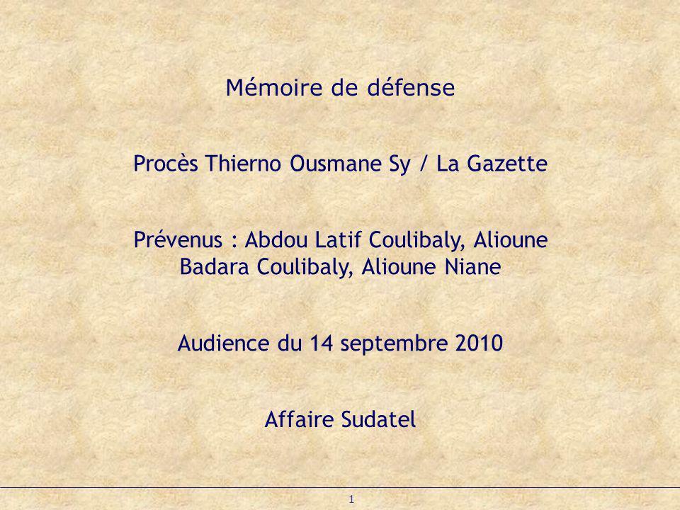 Procès Thierno Ousmane Sy / La Gazette
